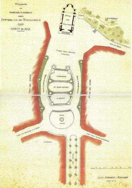 Plànol projecte inicial del Pg de la Misericòrdia. Lluís Domènech i Muntaner,1915