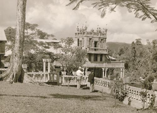 View of the pavillion building from the upper garden terrace at Paronella Park Mena Creek Innisfail August 1935