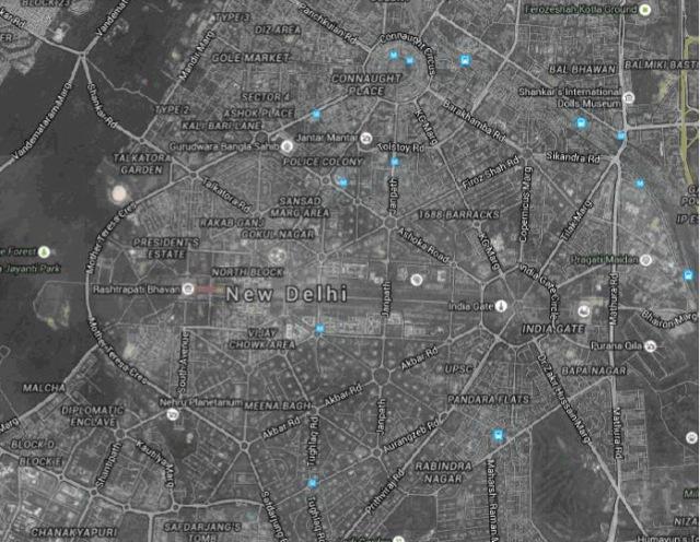 Plànol del centre de la ciutat de Nueva Delhi. Google Maps 2015