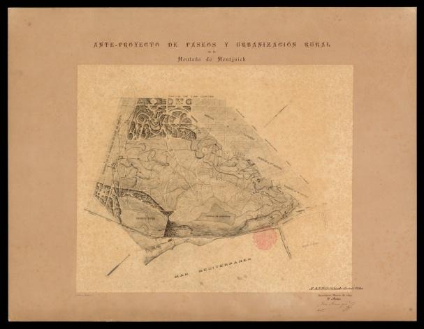 1894. Ante_proyecto_de_paseos_y_urbanizacin_rural_de_la_Montaa_de_Montjuich. Josep Amargós. mapes CEC Reduit
