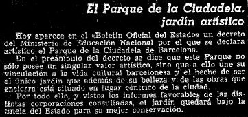 1952 LVG Noticia declaració Jardín Artistico La Ciutadella.1
