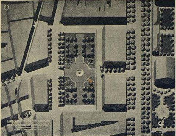 Projecte d'enjardinament per a l'espai del Born un cop aquest fos traslladat a l'interior del Parc de la Ciutadella. Gaseta municipal, 1950