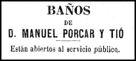 Anunci Baños de Porcar. El Correo de las Familias,1881