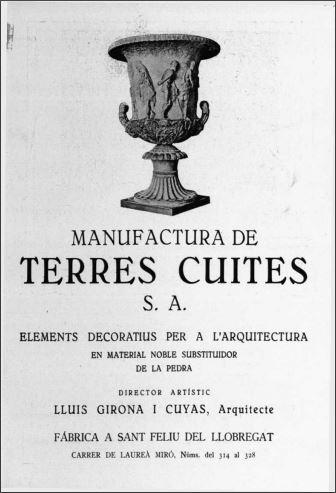 Anunci de Manufactura de Terres Cuites S.A. a la revista La Ciutat i la casa. 1925 núm 2 p 63