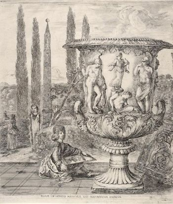 Cosme III dibuixant el vas Mèdici. Stefano de la Bella, 1656. Biblioteca pública de NY