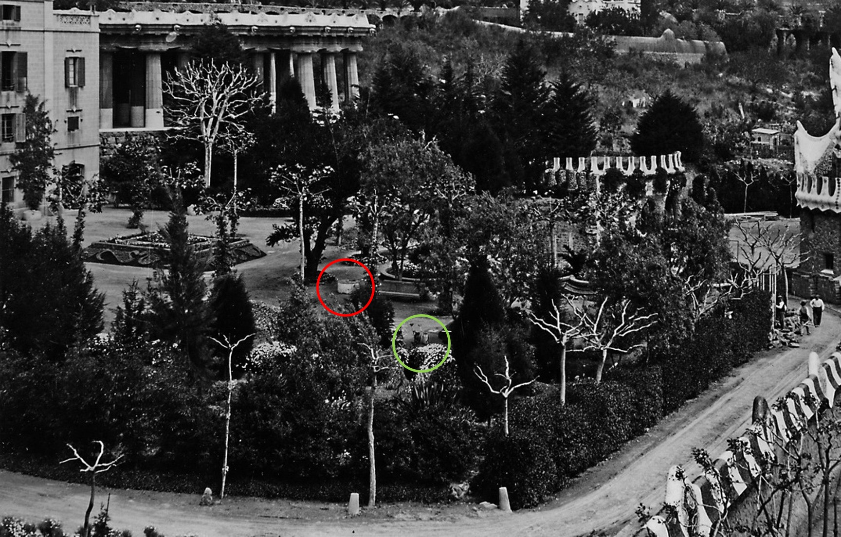 1914. Parc Güell. Ajuntament de Barcelona. Detall red-1 amb cercles